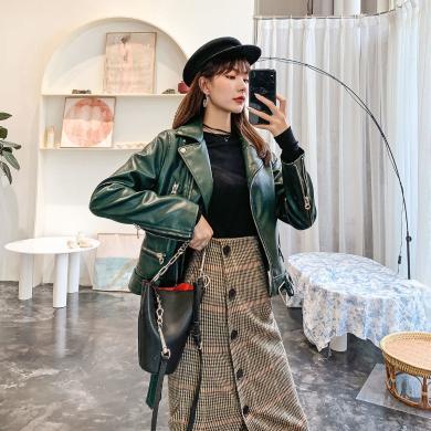 七格格皮衣外套女2019新款冬季短款时尚上衣韩版宽松小个子机车服