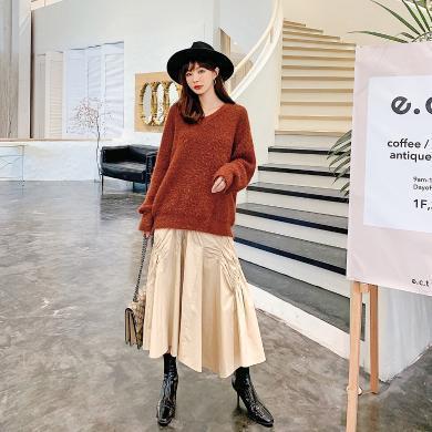 七格格時尚套裝女219秋季新款韓版寬松顯瘦v領毛衣半身裙兩件套潮