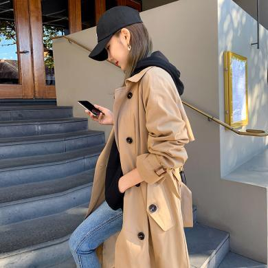 韓都衣舍2019秋裝新款寬松過膝收腰顯瘦中長款風衣PS9169諨