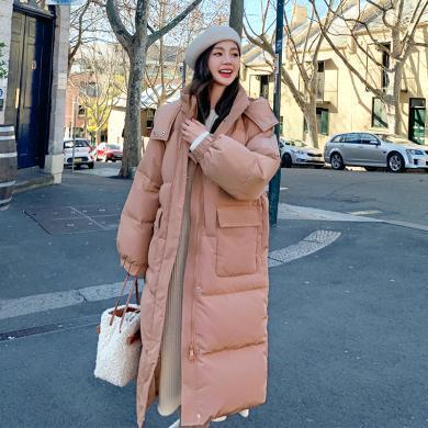 韓都衣舍2019冬裝新款韓版女裝寬松加厚連帽長款羽絨服JM9922蒖