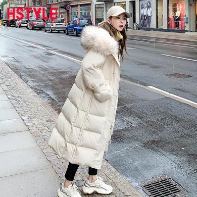 韓都衣舍2019韓版女裝冬裝新款氣質毛領中長款加厚羽絨服EK9141囡