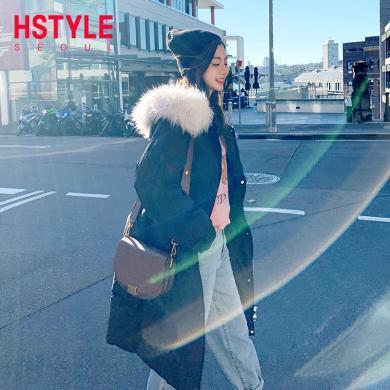 韩都衣舍2019冬装新款韩版女装宽松中长款白鸭绒羽绒服OM90971莀
