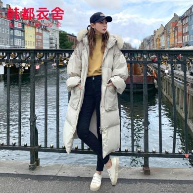 韩都衣舍2019冬装新款韩版毛领加厚宽松中长款羽绒服女OM80434樰