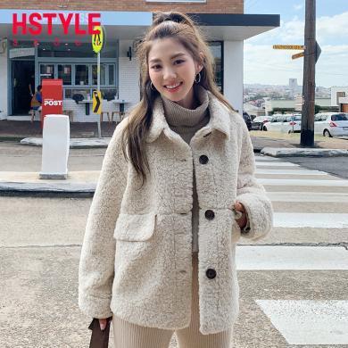 韓都衣舍2019韓版女裝冬裝新款直筒顯瘦短款棉衣棉服LZ8761烎