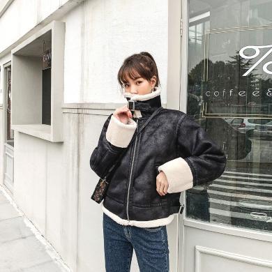 七格格皮毛一体外套女派克服2019冬季新款羊羔毛皮草短款加厚皮衣