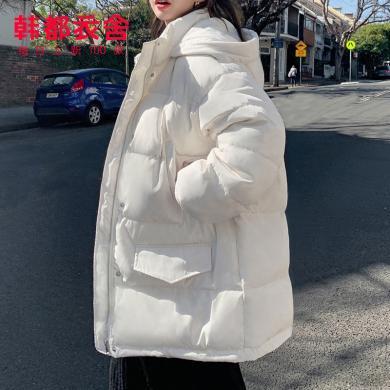 韓都衣舍2019冬新款女韓版寬松加厚外套短款羽絨服NJ13355翝0912