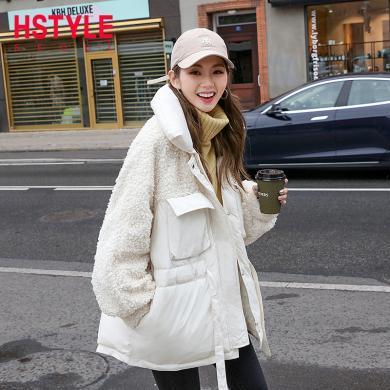 韩都衣舍2019冬装新款韩版女装学生宽松立领棉衣棉服CQ9128莀0912