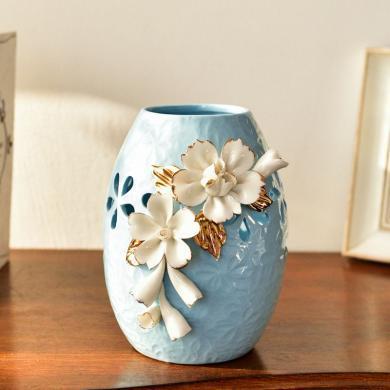 DEVY 簡歐現代陶瓷手捏水培花瓶客廳餐桌玄關仿真花藝插花器擺件