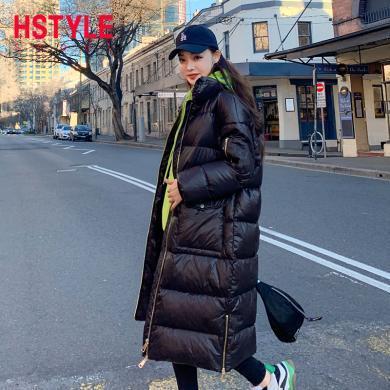 韩都衣舍2019冬装新款韩版宽松加厚中长款羽绒服女OM80494樰