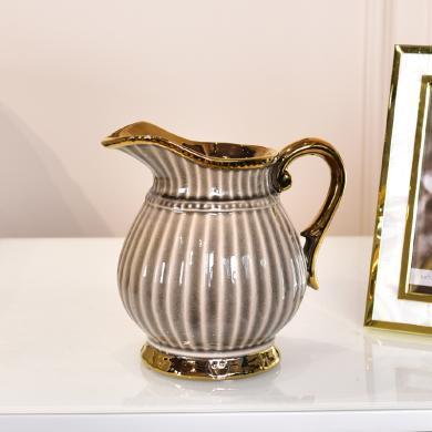 DEVY现代轻奢陶瓷花瓶欧式客厅餐桌茶几仿真花插花器花艺装饰摆件