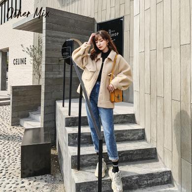 七格格仿皮草中长款外套2019新款冬季长袖宽松韩版时尚显瘦上衣潮