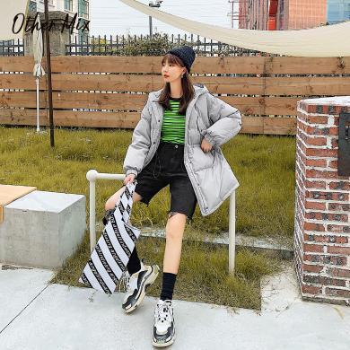 七格格羽绒服女中长款2019新款冬季韩版纯色长袖时尚宽松学生上衣