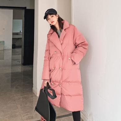 七格格長款羽絨服女2019新款冬季韓版外套過膝白鴨絨百搭時尚上衣