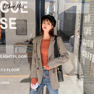 七格格西裝格子外套女2019新款冬季長袖雙排扣氣質修身休閑上衣潮