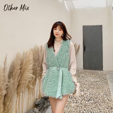 七格格仿皮草外套女中長款2019新款冬季韓版無袖v領顯瘦時尚上衣