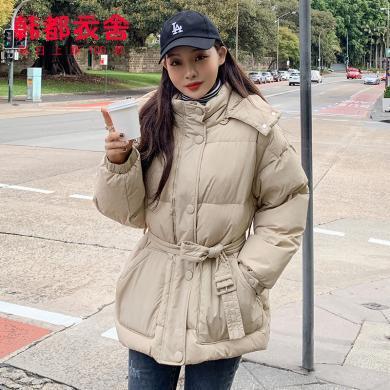 韩都衣舍2019冬装新款女装韩版可脱卸帽腰带收腰羽绒服JM9900蒖