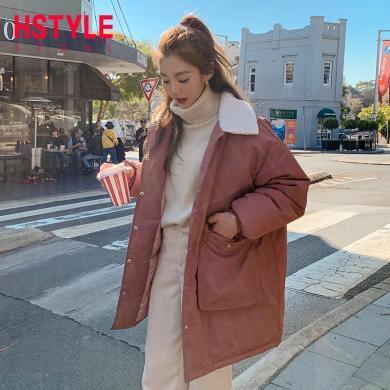 韩都衣舍2019冬季新款韩版女装宽松拼接保暖潮棉服棉衣NF11711玎