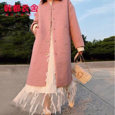 韩都衣舍2019冬季新款韩版女装中长款加厚毛呢外套JZ12377瑭0916