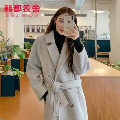 韩都衣舍2019韩版女装冬装新款气质大翻领中长款毛呢外套EK9154囡