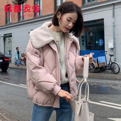 韩都衣舍2019韩版女装冬装新款气质毛领棉衣棉服女TK00427婏0916