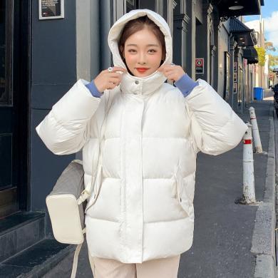 韓都衣舍2019韓版女裝冬裝新款寬松短款面包服羽絨服HO0009魭