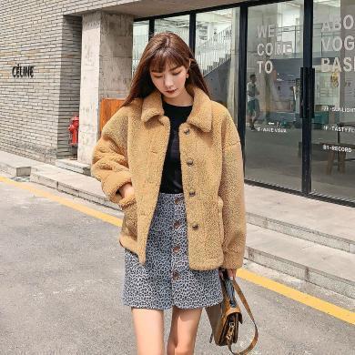 七格格外套女2019新款冬季仿皮草韓版顯瘦時尚中長款口袋寬松上衣