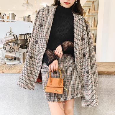 七格格時尚套裝女2019冬季新款韓版寬松顯瘦千鳥格學生裙子兩件套