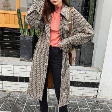 七格格毛呢外套女中長款2019新款冬季韓版格子寬松過膝學生上衣潮