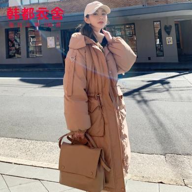 韓都衣舍2019冬裝韓版女裝新款寬松時尚中長加厚羽絨服NW12190棽