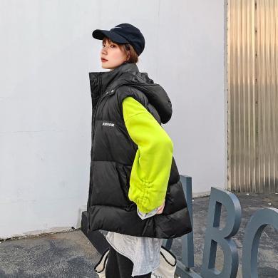 七格格羽絨服女2019冬季新款韓版寬松顯瘦白鴨絨無袖印花背心馬甲