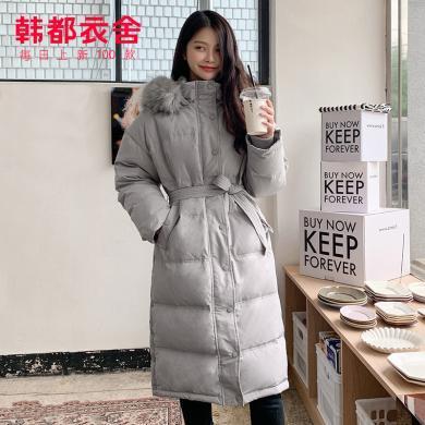 韓都衣舍2019冬裝新款韓版女裝寬松保暖過膝長款羽絨服KY11031湲
