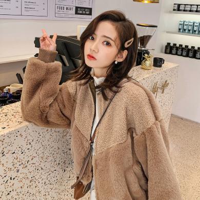 七格格外套女2019新款冬季仿皮草韩版圆领显瘦时尚短款加厚上衣潮