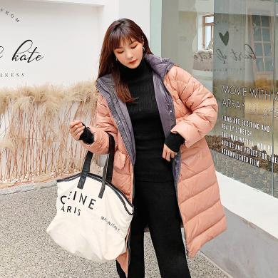 七格格羽绒服女长款过膝2019新款冬季韩版外套时尚白鸭绒修身上衣