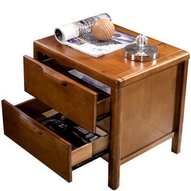 實木床頭柜 臥室小柜子角柜簡易白色橡木床邊柜儲物柜