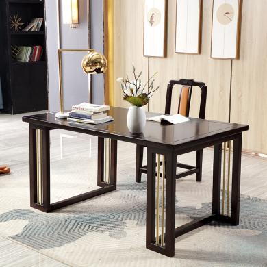 實木電腦桌臺式家用 簡約新中式實木書桌椅學習桌寫字臺辦公桌