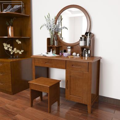 全實木梳妝臺 小戶型臥室簡約化妝桌鏡臺凳子影樓帶柜子 實木家具