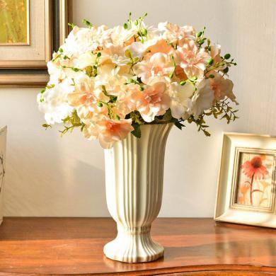 墨菲北欧现代陶瓷白色花瓶摆件客厅餐桌家居装饰干花仿真花艺插花