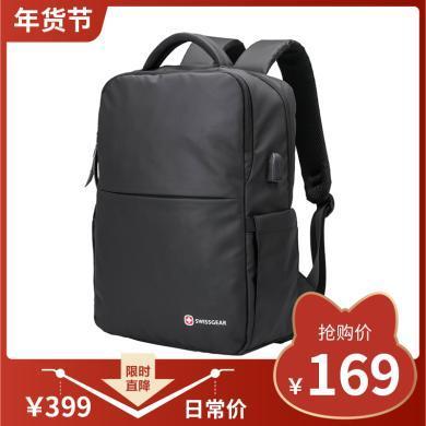 瑞士军刀(SWISSGEAR) 时尚电脑包男青年双肩背包轻便上班休闲包SA-8010黑色