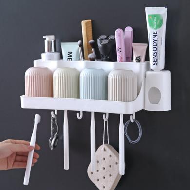 吸壁式无痕牙刷架卫生间刷牙杯牙具挤牙膏器漱口杯套装牙刷置物架