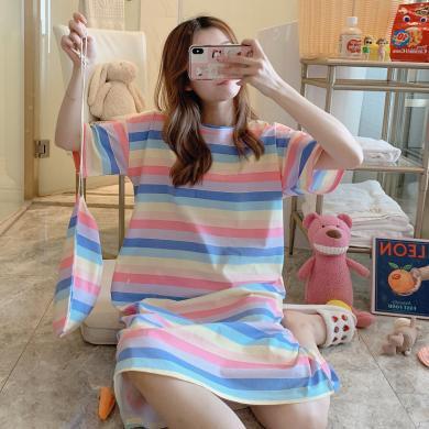 锦序夏季韩版新款纯棉清新印花女士短袖宽松薄款中长款睡裙
