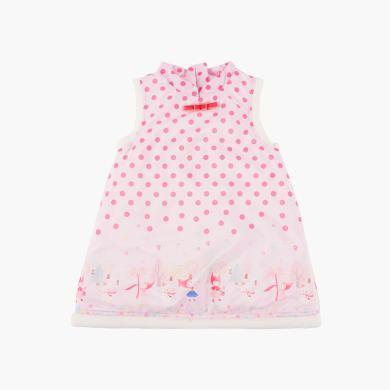 CHOUCHOU 丑丑女寶寶波點卡通連衣裙新款女童無袖秋冬短裙2-4歲