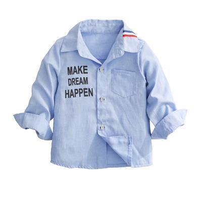ocsco 男童襯衫春裝新款童裝長袖襯衣中小童簡約字母上衣