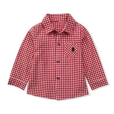 ocsco 男童紅小格子襯衫春裝新款童裝襯衣中小童長袖上衣潮