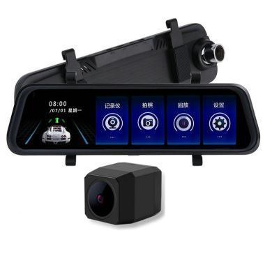 卡饰得 流媒体双镜头行车记录仪 10寸触控后视镜高清记录仪 2.5D曲弧屏倒车后视