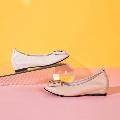 百田森商場同款2020春季新款舒適單鞋女軟底媽媽鞋內增高時尚單鞋PYQ82505