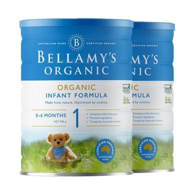 【支持购物卡】【2罐】澳洲Bellamys Organic贝拉米1段(0-12个月)有机婴儿奶粉900g/罐*2(澳洲直邮)