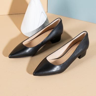 百田森工作鞋女2020春季新款粗跟淺口尖頭職業鞋真皮柔軟通勒單鞋PYQ20025