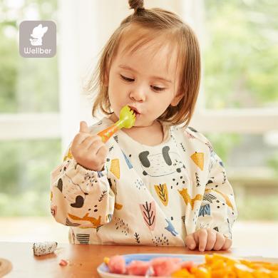 寶寶吃飯罩衣反穿衣兒童圍裙女孩男童長袖防水防臟罩衣春秋薄款