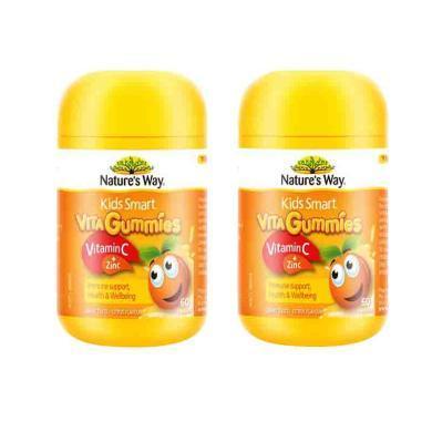 【支持购物卡】2件装 澳大利亚 NATURE'S WAY/佳思敏 儿童维生素C+锌软糖 60粒