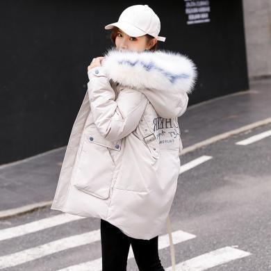熤笙靘 棉袄女2019新款外套冬女加厚毛领矮小个子中长款棉衣羽绒棉服    C502